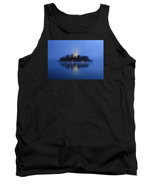 Misty Morning Lake Bled Slovenia Tank Top