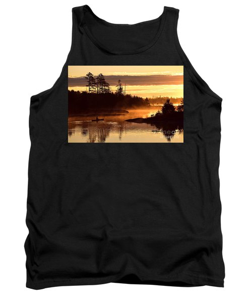 Tank Top featuring the photograph Misty Morning Paddle by Larry Ricker
