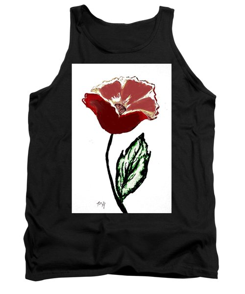 Tank Top featuring the drawing Modernized Flower by Marsha Heiken