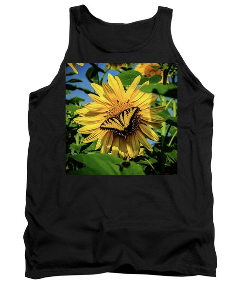 Male Eastern Tiger Swallowtail - Papilio Glaucus And Sunflower Tank Top