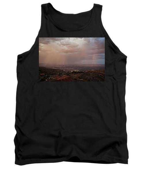 Tank Top featuring the photograph Monsoon Lightning And Rainbow by Ron Chilston