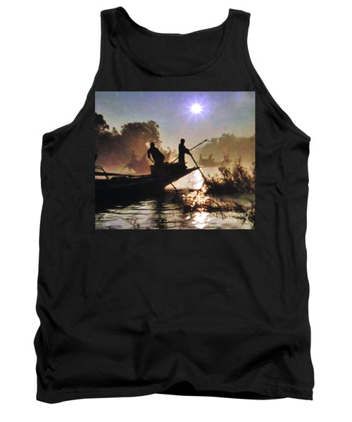 Moody River Silhouettes At Sunset Tank Top