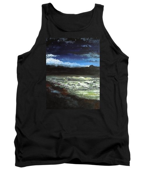 Tank Top featuring the painting Moon Lit Sea by Dan Whittemore