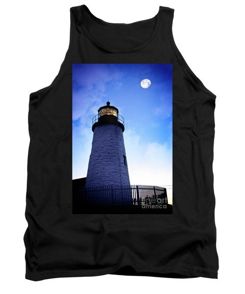 Tank Top featuring the photograph Moon Over Lighthouse by Scott Kemper