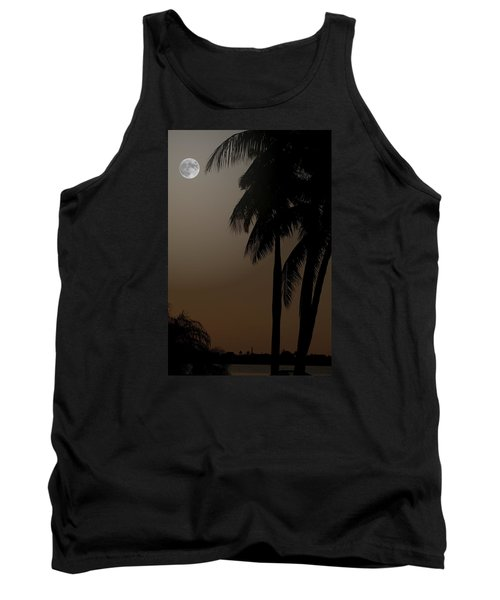 Moonlight And Palms Tank Top by Diane Merkle