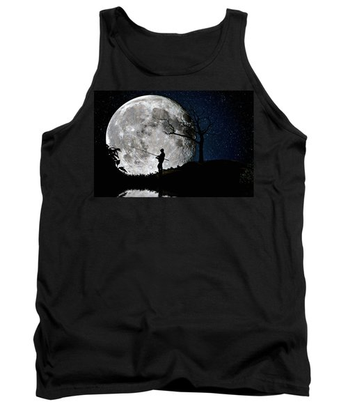 Moonlight Fishing Under The Supermoon At Night Tank Top