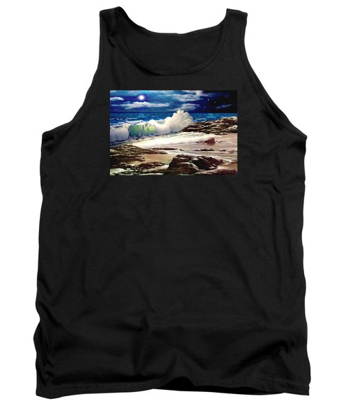 Moonlight On The Beach Tank Top by Ron Chambers