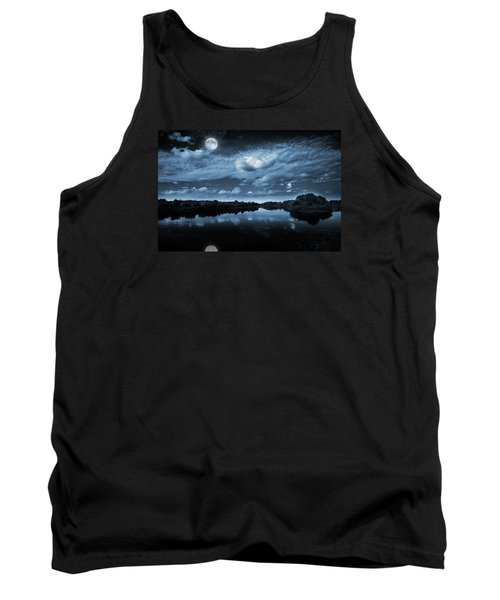 Tank Top featuring the photograph Moonlight Over A Lake by Jaroslaw Grudzinski