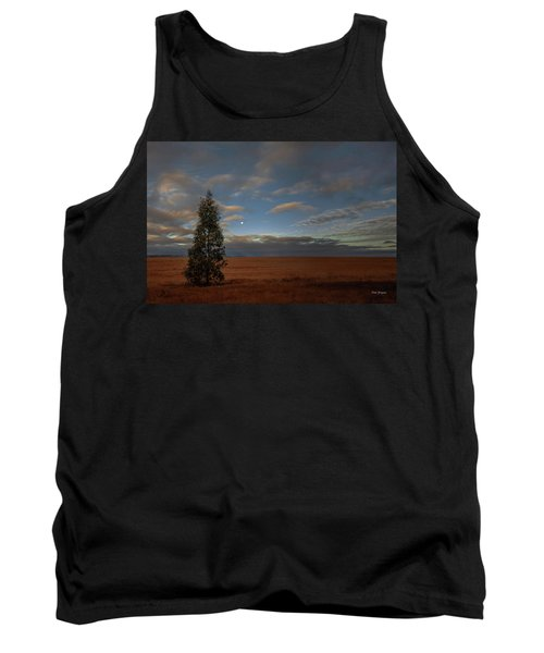Moonset  In A Large Morning Sky Tank Top