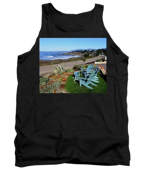Tank Top featuring the photograph Moonstone Beach Seat With A View by Barbara Snyder