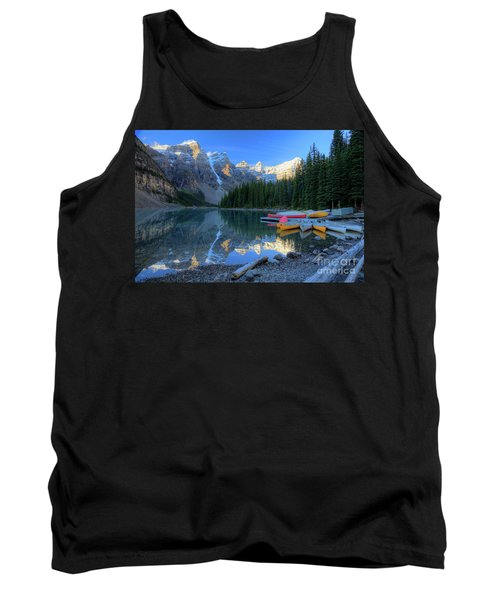 Moraine Lake Sunrise Blue Skies Canoes Tank Top
