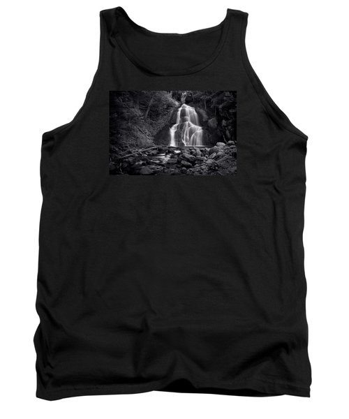 Tank Top featuring the photograph Moss Glen Falls - Monochrome by Stephen Stookey