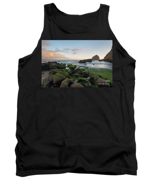 Mossy Rocks At The Beach Tank Top