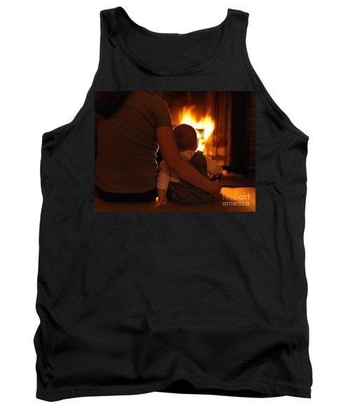 Mother And Son Sitting In Front Of A Firepalce Tank Top