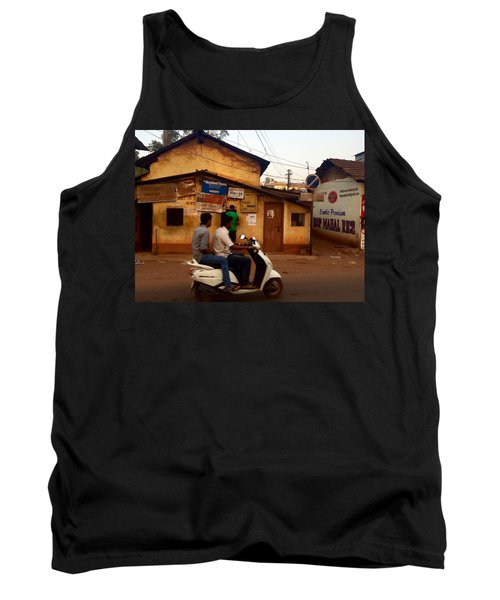 Motorbike Crossing Goa Times Newstand Tank Top by Funkpix Photo Hunter