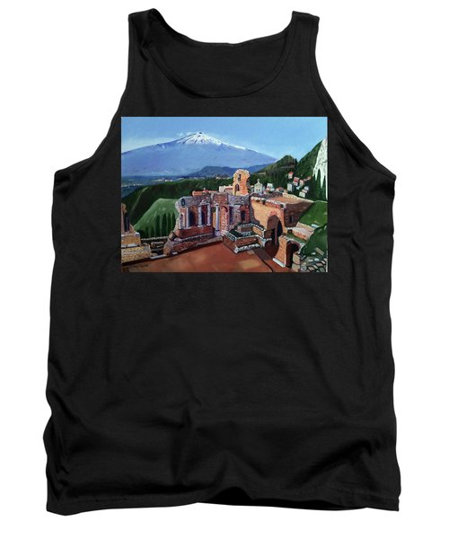 Mount Etna And Greek Theater In Taormina Sicily Tank Top