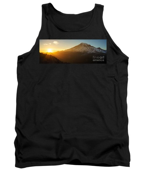 Mount Rainier Evening Light Rays Tank Top by Mike Reid