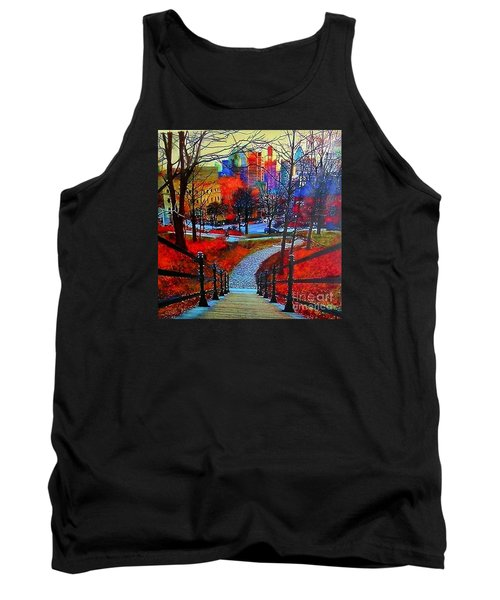 Tank Top featuring the painting Mount Royal Peel's Exit by Marie-Line Vasseur