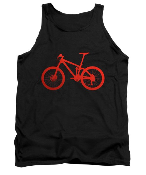 Mountain Bike Silhouette - Red On Black Canvas Tank Top