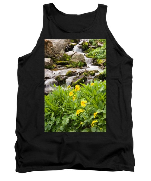 Mountain Waterfall And Wildflowers Tank Top