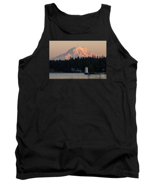Mt. Rainier Sunset Glow Tank Top by Chuck Flewelling