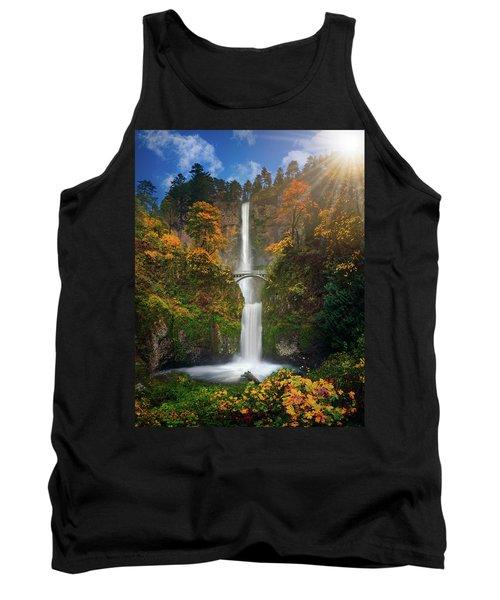 Multnomah Falls In Autumn Colors -panorama Tank Top