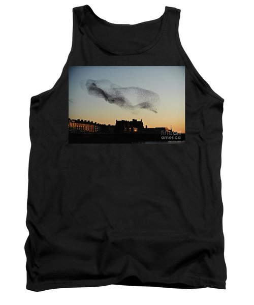 Murmuration Of Starlings Over Aberystwyth Wales Uk Tank Top