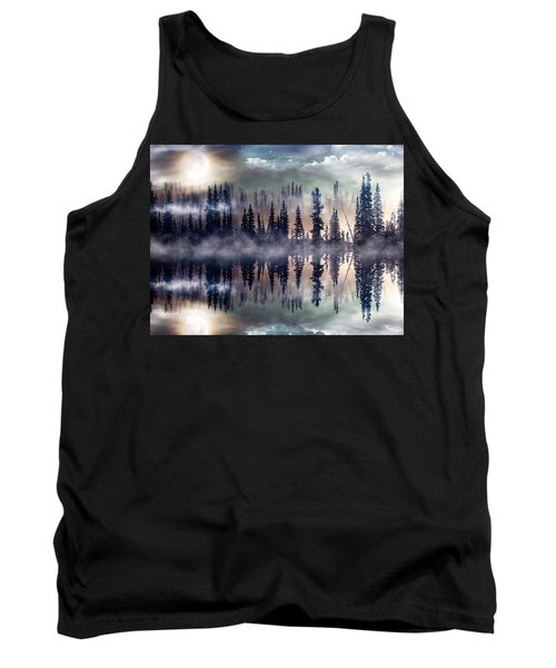 Tank Top featuring the mixed media Mystic Lake by Gabriella Weninger - David