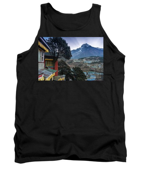 Tank Top featuring the photograph Namche Monastery Morning Sunrays by Mike Reid