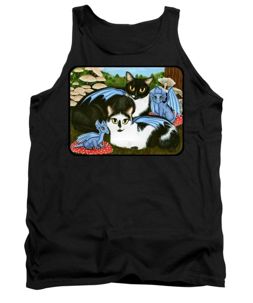 Tank Top featuring the painting Nami And Rookia's Dragons - Tuxedo Cats by Carrie Hawks