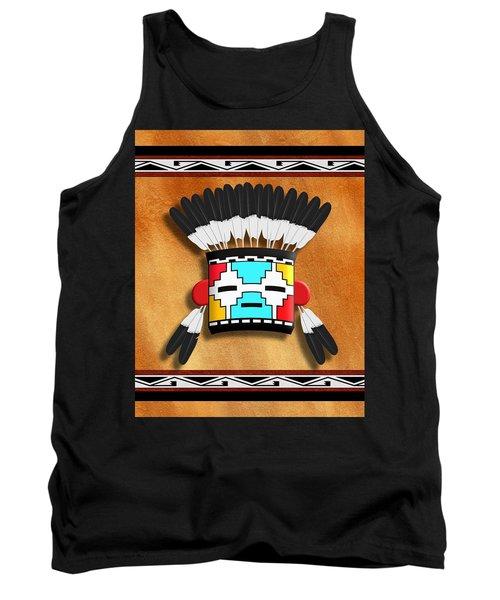 Tank Top featuring the digital art Native American Indian Kachina Mask by John Wills