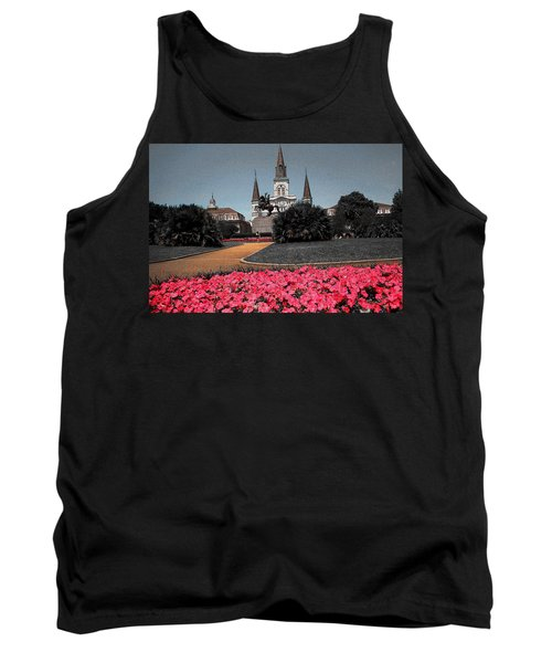 New Orleans Cathedral With Pink Flowers - Louisiana Artwork Tank Top