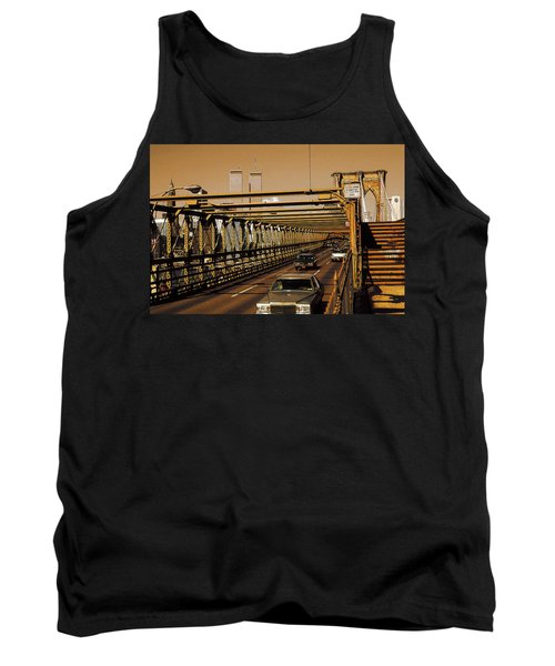 New York City, Brooklyn Bridge Traffic - Photo Art Illustration Tank Top