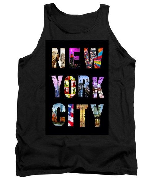 New York City Text On Black Tank Top