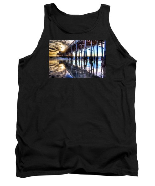 Tank Top featuring the photograph Newport Beach Pier - Reflections by Jim Carrell
