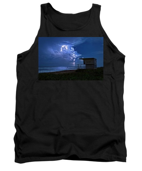 Tank Top featuring the photograph Night Lightning Under Full Moon Over Hobe Sound Beach, Florida by Justin Kelefas