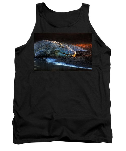 Nile Crocodile On Riverbank-1 Tank Top