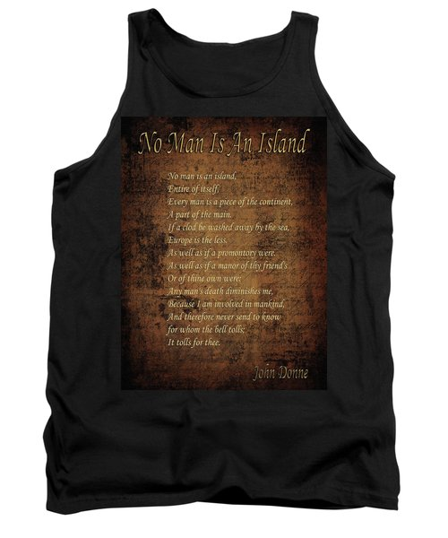 No Man Is An Island Tank Top by Andrew Fare