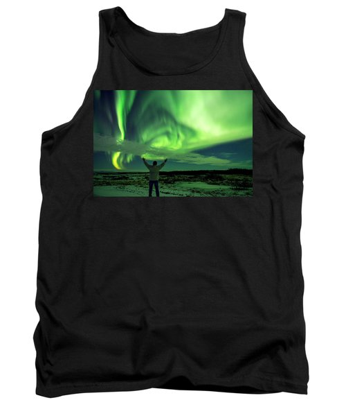 Northern Light In Western Iceland Tank Top by Dubi Roman