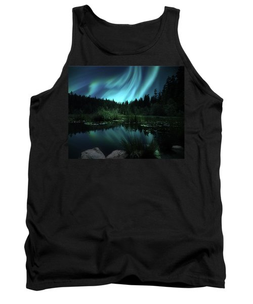 Northern Lights Over Lily Pond Tank Top