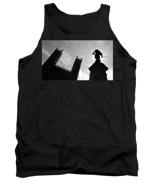 Tank Top featuring the photograph Notre Dame Silhouette by Valentino Visentini