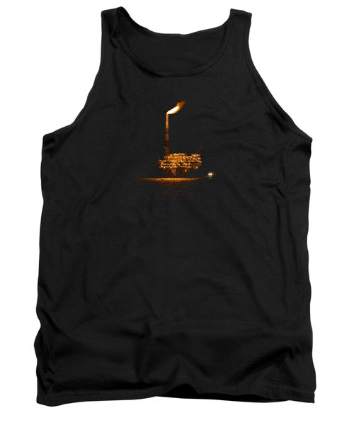 Tank Top featuring the photograph Oil Rig At Night by Bradford Martin