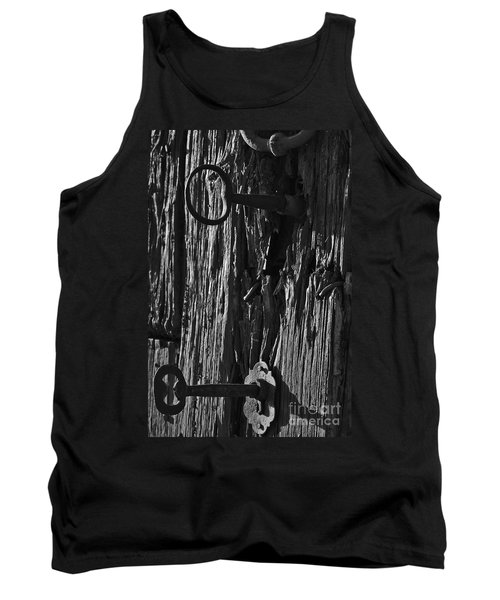 Old And Abandoned Wooden Door With Skeleton Keys Tank Top