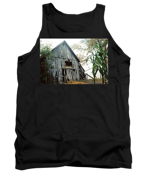 Old Barn In The Morning Mist Tank Top