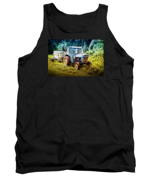 Old Blue Ford Tractor Tank Top by John Williams