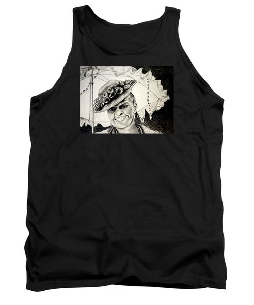 Old Fashioned Girl In Black And White Tank Top by Antonia Citrino