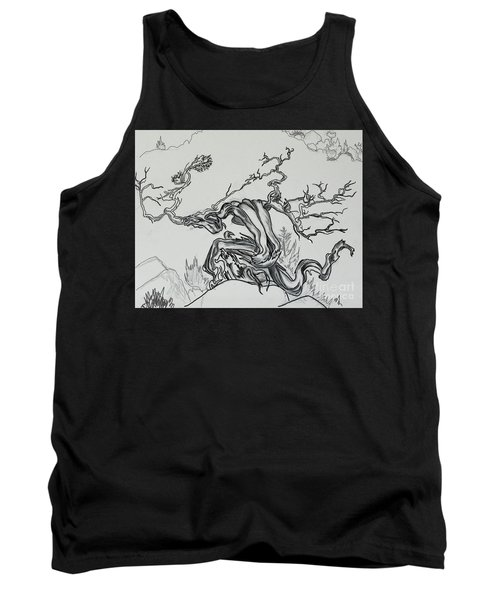 Old Juniper Dancing With The Wind -- Field Sketch Tank Top by Dawn Senior-Trask