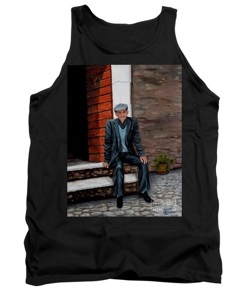 Tank Top featuring the painting Old Man Waiting by Judy Kirouac