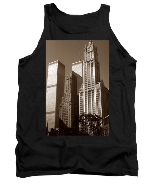 Old New York Photo - Woolworth Building And World Trade Center Tank Top