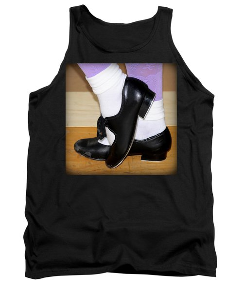 Old Tap Dance Shoes With White Socks And Wooden Floor Tank Top by Pedro Cardona